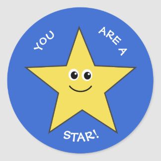 Yellow star teachers praise blue classic round sticker