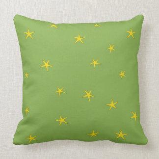 Yellow Starfish - Natural Green Background Pattern Throw Pillow