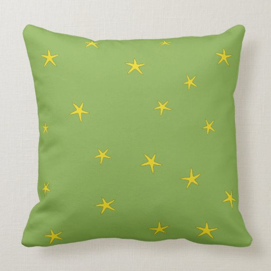 Yellow Starfish - Natural Green Background Pattern Throw Pillow