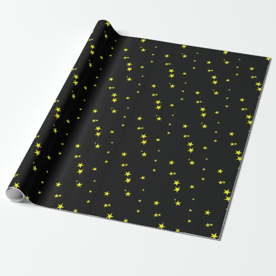 Yellow Stars on Black Gift Wrapping Paper
