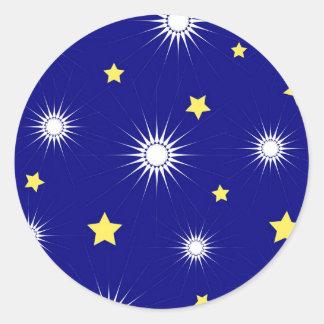 Yellow stars classic round sticker