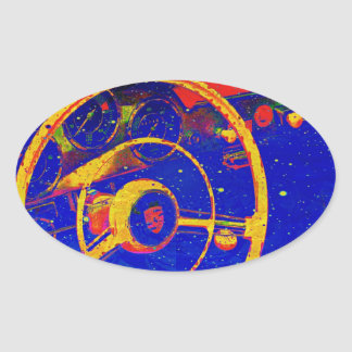 Yellow Steering Wheel Abstract Oval Sticker