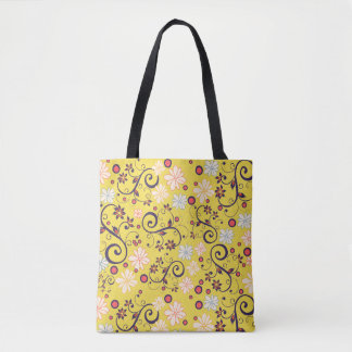 Yellow stock market Flowery Happy Spring Tote Bag