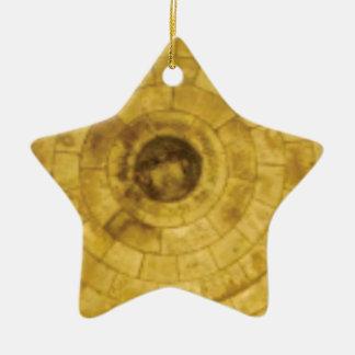 yellow stone circles ceramic ornament