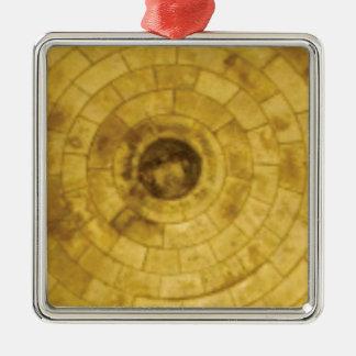 yellow stone circles metal ornament