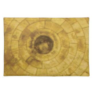 yellow stone circles placemat