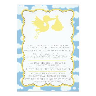 Yellow Stork Baby Shower Invitation