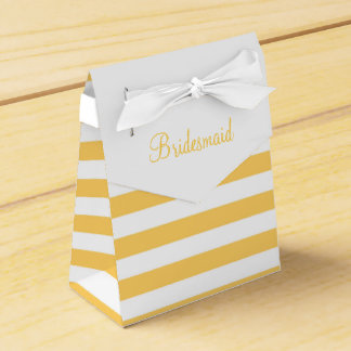 Yellow Stripe Custom Text Favor Box