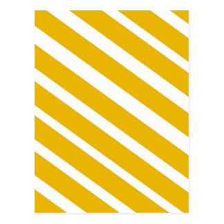 Yellow stripe diagonal chevron mustard postcard
