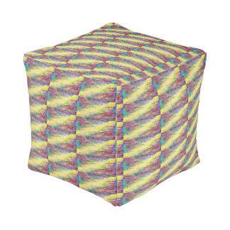 yellow striped abstract pouf