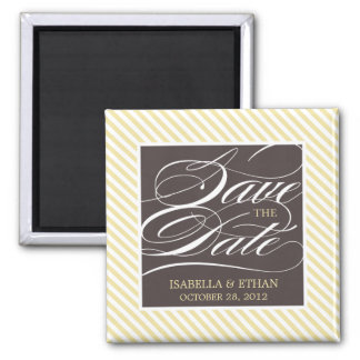 YELLOW STRIPED SAVE THE DATE | MAGNET