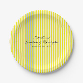 Yellow Stripes 7 Inch Paper Plate