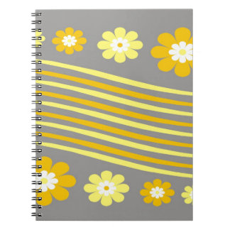 Yellow Stripes And Flowers On Gray Note Book