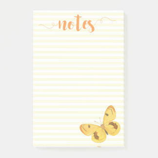 Yellow Stripes & Butterfly - Post-it Notes
