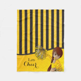 Yellow Stripes Cheer Cheerleader Fleece Blanket