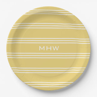 Yellow Stripes custom monogram paper plates 9 Inch Paper Plate