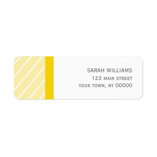 Yellow Stripes Pattern Return Address Label