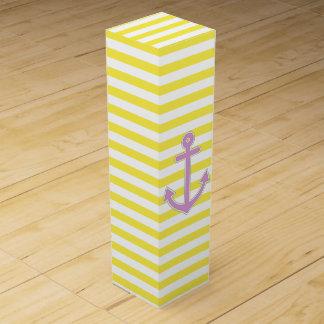 Yellow Stripes Purple Anchor Nautical Wine Bottle Box