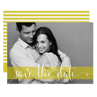 Yellow Stripes Save the Date Photo Announcement