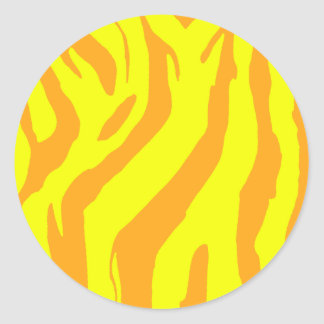 Yellow Stripes Round Stickers