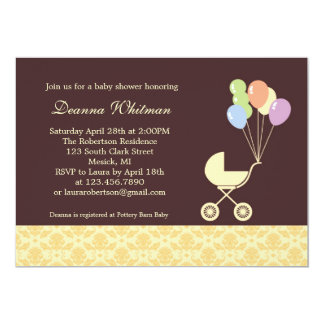 """Yellow Stroller with Balloons Baby Shower 5"""" X 7"""" Invitation Card"""