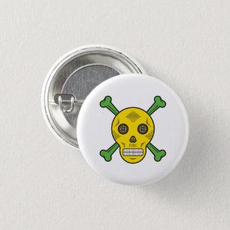 Yellow Sugar skull and bones 1 Inch Round Button