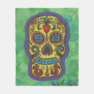 Yellow Sugar Skull Blanket With Green Background