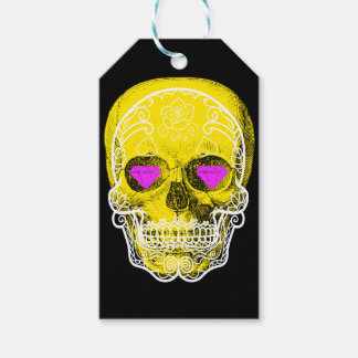 Yellow Sugar Skull Gift Tags
