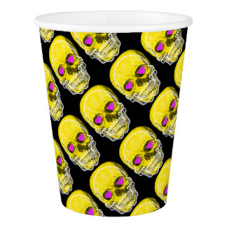 Yellow Sugar Skull Paper Cup