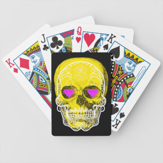 Yellow Sugar Skull Playing Cards