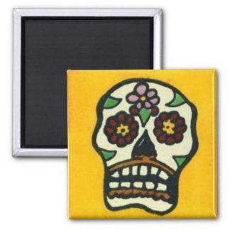 Yellow Sugar Skull Square Magnet