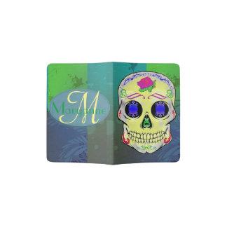Yellow Sugar Skull with Purple Rose Passport Holder