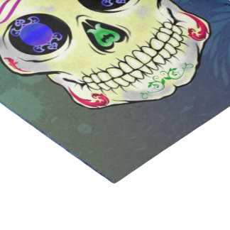 Yellow Sugar Skull with Purple Rose Tissue Paper