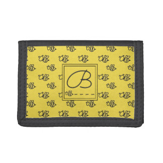 Yellow Summer Bees Monogram Pattern Tri-fold Wallets