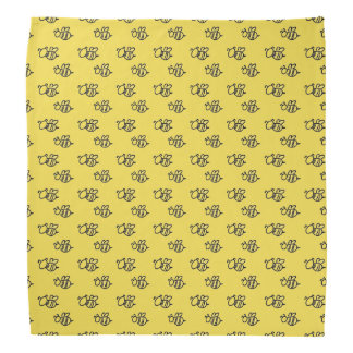 Yellow Summer Bees Pattern Bandana