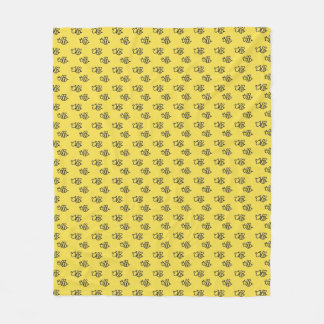 Yellow Summer Bees Pattern Fleece Blanket