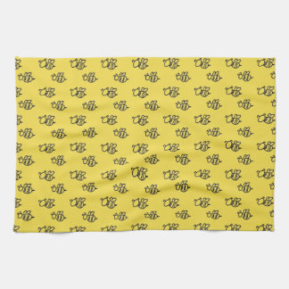 Yellow Summer Bees Pattern Kitchen Towel