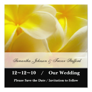 """Yellow Summer save the date 5.25"""" Square Invitation Card"""