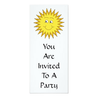 """Yellow Summer Sun with a Happy Face. 4"""" X 9.25"""" Invitation Card"""