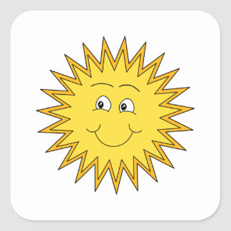 Yellow Summer Sun with a Happy Face. Square Sticker