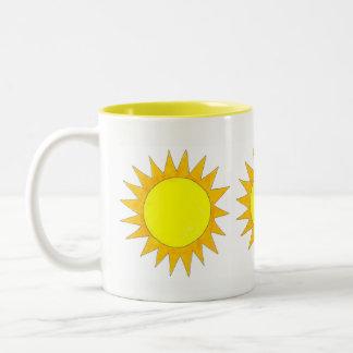 Yellow Summer Sunshine Sun Sunny Day Beach Two-Tone Coffee Mug