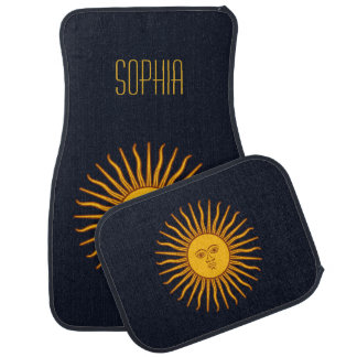 Yellow Sun Astrology Planet Personalize Name Blue Car Mat