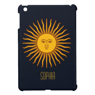 Yellow Sun Astrology Planet Personalize Name Blue Case For The iPad Mini
