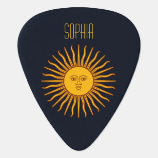 Yellow Sun Astrology Planet Personalize Name Blue Guitar Pick