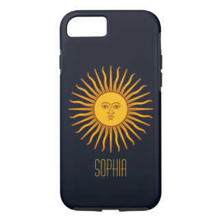 Yellow Sun Astrology Planet Personalized Name Blue Case-Mate iPhone Case