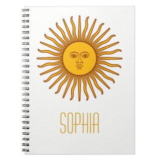 Yellow Sun Astrology Planet Personalized Name Spiral Notebook