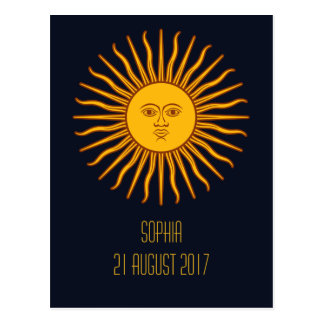 Yellow Sun Astrology Planet Personalized Name Text Postcard