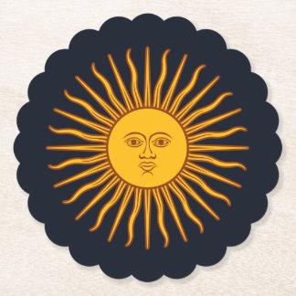 Yellow Sun Astrology Planet Symbol On Dark Blue Paper Coaster