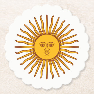 Yellow Sun Astrology Planet Symbol On White Paper Coaster