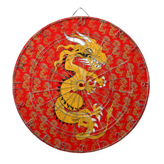 Yellow Sun Dragon on Red Dartboard